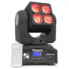 Beamz MATRIX 22, 40 W, cap rotativ cu LED, cap rotativ, MOVING-HEAD, 4 X 10 W, 9 design, 7 culori, DMX