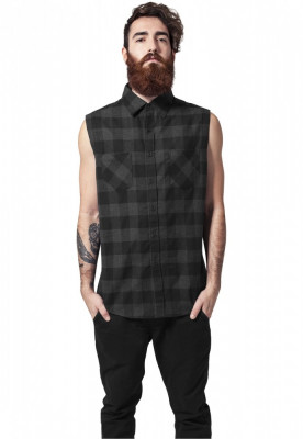 Camasa sleeveless checked flanell shirt Urban Classics S EU foto