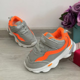 Cumpara ieftin Adidasi colorati gri portocalii moi usori pt copii baieti fete 22