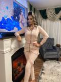 Trening dama lung roz cu hanorac si pantaloni cu bretele
