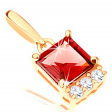 Cumpara ieftin Pandantiv, aur galben de 14K - rubin roșu pătrat, linie de zirconii transparente