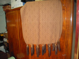 Sal de dama din lana, coloare maro, cu blanita naturala la capete, 120X160 cm
