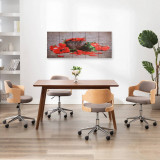 Set tablouri din pânză, imprimeu paprika, multicolor, 150x60 cm, vidaXL