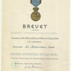 Brevet Medalia Centenarului Regelui Carol I - 2 mai 1940