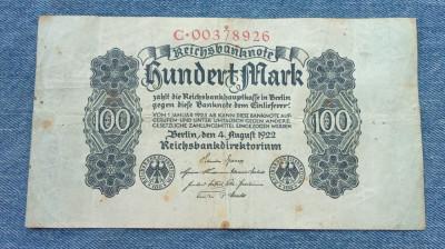 100 Mark 1922 Germania / marci germane / seria 00378926 foto