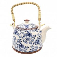Ceainic Ceramic 800 ML cu infuzor metalic, maner Bambus, Blue Flowers