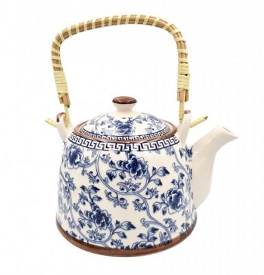 Ceainic Ceramic 800 ML cu infuzor metalic, maner Bambus, Blue Flowers foto