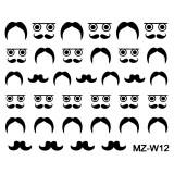 Abtibilde Unghii Mustati Negre, MZ-W12 (Abtibilduri Unghii - Tatuaje Unghii - Nail Stickere)