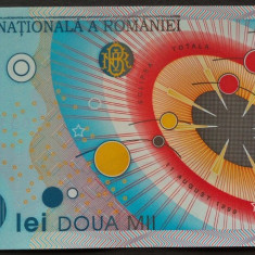 Bancnota ECLIPSA in FOLDER BNR UNC 2000 lei - ROMANIA, anul 1999  *cod 902