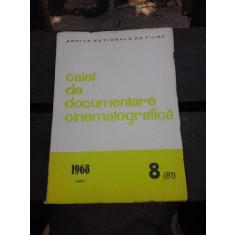 CAIET DE DOCUMENTARE CINEMATOGRAFICA NR.8/1968