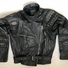 GEACA NEAGRA DAMA PIELE ROCKER STRADA MOTO BIKER MOTOR CHOPPER PILOT 8 BUZUNARE
