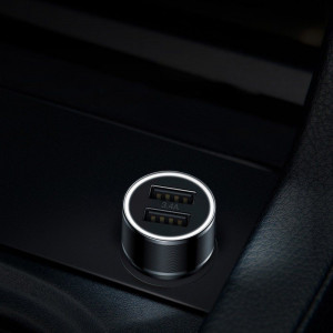 Incarcator Auto Baseus Small Screw 2USB 34 Amperi Negru Cablu Fast Charge pentru iPhone inclus