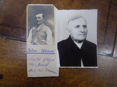 Lot doua fotografii Petru Petrica, scriitor plugar din Banat 1902 foto