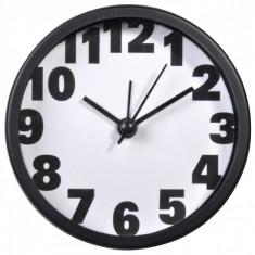 Ceas desteptator, rotund, 9 cm, alb/negru