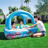 Cumpara ieftin Piscina gonflabila pentru copii, baldachin detasabil, capacitate 265l, design vesel, 147x147x122cm