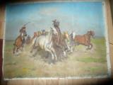 Tablou ulei panza - Scena cai si calareti Pusta Maghiara semnat J.Viski 84x63cm, Scene lupta, Altul