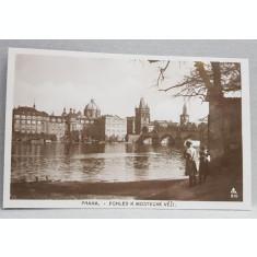 PRAGA , VEDRE DINSPRE RAUL VLTAVA , CARTE POSTALA ILUSTRATA , MONOCROMA, NECIRCULATA , DATATA 1924