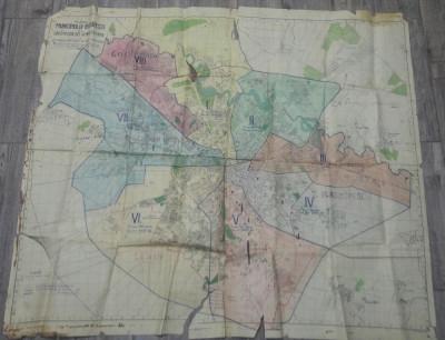 Planul Municipiului Bucuresti si al circumscriptiei, 1943// harta raioanelor foto