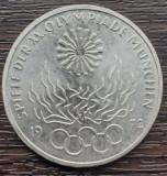 (A839) MONEDA DIN ARGINT GERMANIA - 10 MARK 1972, LIT. F, JOCURILE OLIMPICE