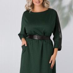 Rochie Ebony verde in carouri cu insertii de piele ecologica neagra