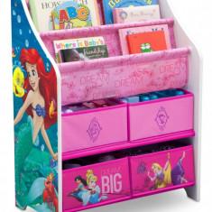 Organizator carti si jucarii cu cadru din lemn Disney Princess, Multicolor