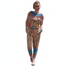 Salopeta moderna, multicolora, cu elastic la decolteu si in talie