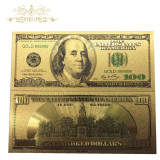 SUA/USA Bancnota 100 DOLLARS - Bancnota veche placata cu aur - COLOR