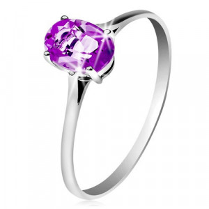 Inel din aur alb de 14K, cu ametist violet, brațe înguste - Marime inel: 58