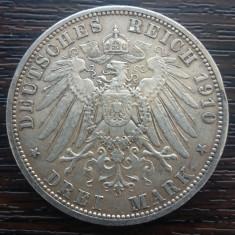 (A730) MONEDA DIN ARGINT GERMANIA, PRUSIA - 3 MARK 1910, LIT. A, WILHELM II