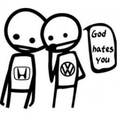 Stickere auto God hates honda-vw