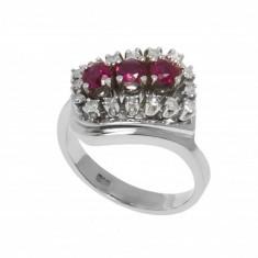Inel din aur alb 14K cu rubine si diamante naturale, circumferinta 56 mm