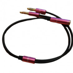 Adaptor cablu splitter audio microfon stereo 4 pini jack 3.5mm mama la 2x jack