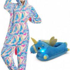 PJS159-45 Set pijama kigurumi + papuci de casa model unicorn