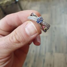 Inel din platină cu diamante si safir Ceylon