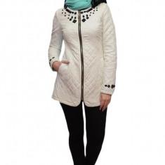 Jacheta din piele ecologica, de culoare alba
