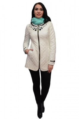 Jacheta din piele ecologica, de culoare alba foto