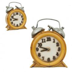 Lampa de veghe polirasina vintage galben model Ceas 15x8x18 cm led