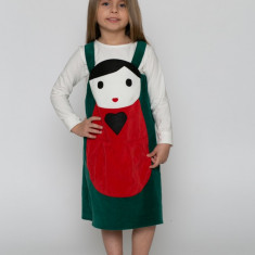 Sarafan-rochiță păpușa Matrioska verde -costum serbare spectacol by KIDissue, 1-2 ani, 2-3 ani, 3-4 ani, 4-5 ani, 5-6 ani, 6-7 ani, 7-8 ani, 8-9 ani, 9-10 ani, Din imagine, Fete