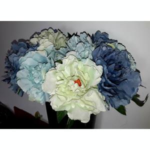 Buchet flori artificiale - Dalie DOVER 5 fire Blue antique , inălțime 25  cm