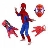 Cumpara ieftin Set costum Spiderman, marime 7-9 ani, doua lansatoare si masca plastic LED, rosu