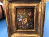 Tablou,pictura miniaturala in ulei,pe lemn,rama din lemn