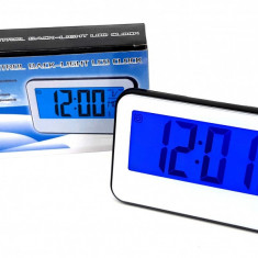 Ceas de birou cu lumina albastra LED si temperatura
