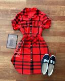 Cumpara ieftin Rochie ieftina casual stil camasa rosie si neagra cu dungi si cordon in talie