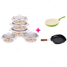 Pachet Practic Bucătărie + Set 5 Cratiţe Emailate şi Capace Sticlă + Tigaie Ceramică Ivona + Tigaie Grill Ertone