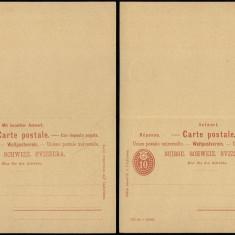 Switzerland - Postal History Rare Old Postal stationery + Reply UNUSED DB.178