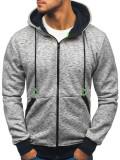 Bluză bărbați cu glugă și fermoar gri Bolf 33022-A