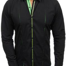 Cămașă elegantă cu mâneca lungă pentru bărbat neagră-verde Bolf 2964