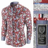 Camasa pentru barbati rosu model floral flex fit casual premium Babilon