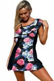 SW1420-141 Costum de baie intreg stil rochita cu model floral, L, M, S/M, XL, XXL