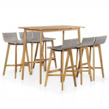 Set mobilier de exterior, 7 piese, lemn masiv de acacia